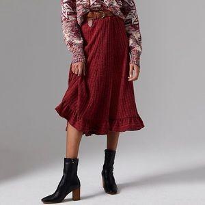 NWT Anthropologie Pauline Ruffle Ribbed Midi Skirt